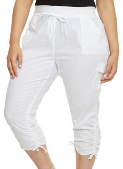 Plus Size Ruched Cargo Capri Pants - WHITE - 1865038348215