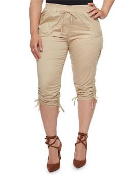 Plus Size Ruched Cargo Capri Pants - 1865038348215