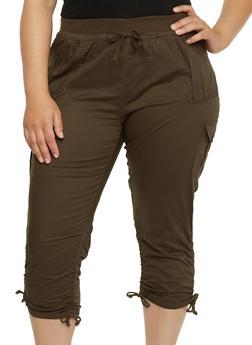 Plus Size Ruched Cargo Capri Pants - OLIVE - 1865038348215
