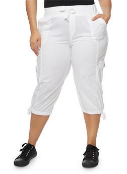 Plus Size Drawstring Cargo Capri Pants - 1865038348216