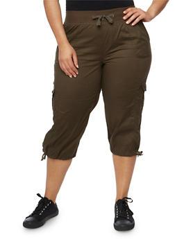 Plus Size Drawstring Cargo Capri Pants - OLIVE - 1865038348216