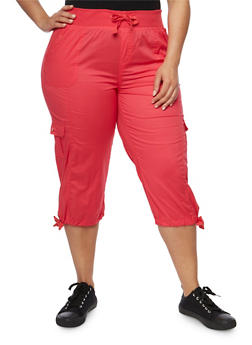 Plus Size Drawstring Cargo Capri Pants - 1865038348216