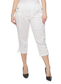 Plus Size Cargo Capri Pants with Drawstring Hem - WHITE - 1865038348217