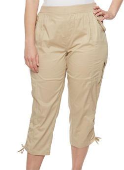 Plus Size Cargo Capri Pants with Drawstring Hem - 1865038348217