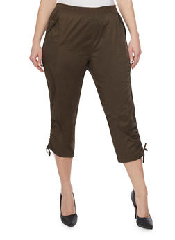 Plus Size Cargo Capri Pants with Drawstring Hem - OLIVE - 1865038348217