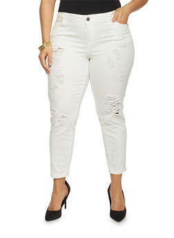 Plus Size Cropped Pants with Rips - WHITE - 1865060584823
