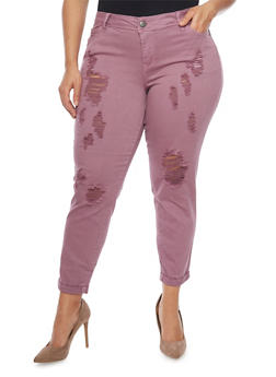 Plus Size Cropped Pants with Rips - 1865060584823