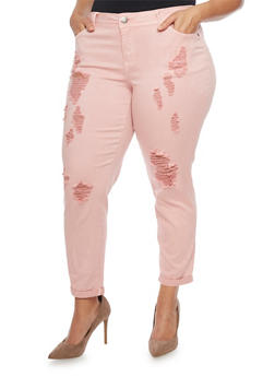 Plus Size Cropped Pants with Rips - ROSE(DUSTY) - 1865060584823