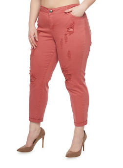 Plus Size Cropped Pants with Rips - D CORAL - 1865060584823