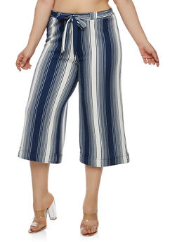 Plus Size Striped Belted Palazzo Pants - 1865060589913