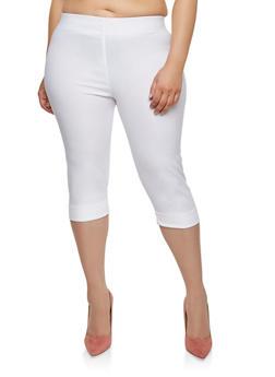 Plus Size Stretch Capri Pants - 1865062700394