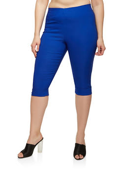Plus Size Stretch Capri Pants - 1865062700394