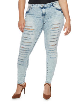 Plus Size Almost Famous Skinny Slash Cut Jeans - 1870015990454
