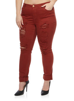 Plus Size Almost Famous Jeans with Distressed Front - 1870015990708
