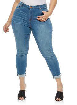 Plus Size Almost Famous Whisker Wash Skinny Jeans - 1870015991313