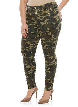 Plus Size Almost Famous 3 Button Camo Jeans - 1870015993458