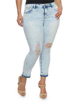 Plus Size Almost Famous Acid Wash Jeans - 1870015993687