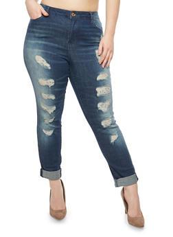 Plus Size Almost Famous Destruction Roll Cuff Jeans - 1870015993850