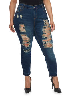 Plus Size Almost Famous Destroyed Front Skinny Jeans - 1870015994804