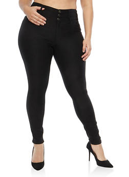 Plus Size Almost Famous 3 Button Jeggings - 1870015995847