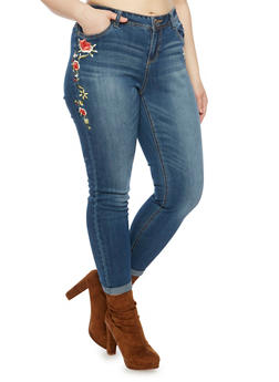 Plus Size Almost Famous Skinny Jeans with Embroidery - 1870015998168
