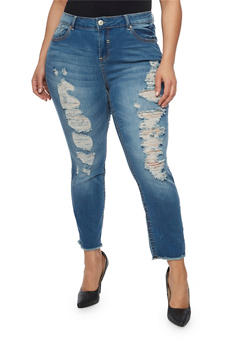Plus Size Almost Famous Ultra Distressed Skinny Jeans - 1870015998304