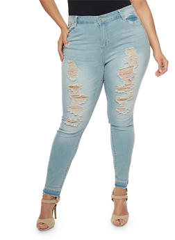 Plus Size Almost Famous Distressed Front Skinny Jeans - 1870015998305