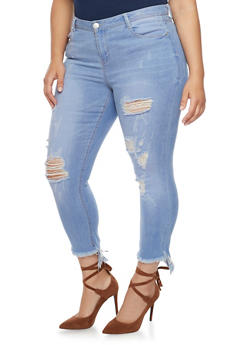 Plus Size Almost Famous Ripped Skinny Jeans with Frayed Hems - 1870015998348