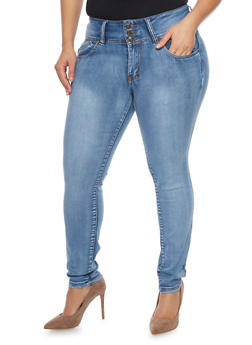 Plus Size High Waisted Push Up Skinny Jeans - 1870041757952