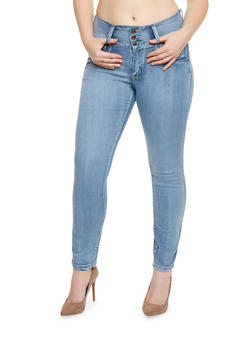 Plus Size High Waisted Skinny Jeans with Back Pocket Detail - 1870041757953