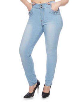 Plus Size Push Up Skinny Jeans with Studded Pocket Detail - 1870041757960