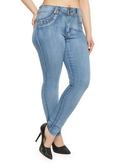 Plus Size Two Button Push Up Skinny Jeans - 1870041757962