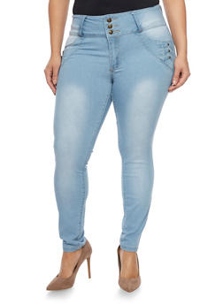 Plus Size High Waisted Push Up Jeans - 1870041757963