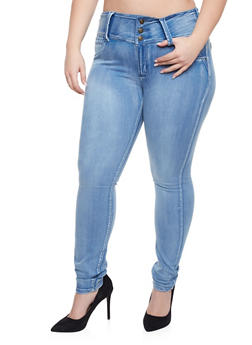 Plus Size Three Button High Waisted Jeans - 1870041759623