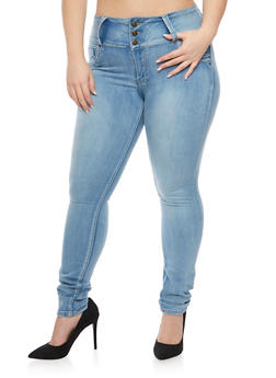 Plus Size Skinny Jeans with Three Buttons - 1870041759624