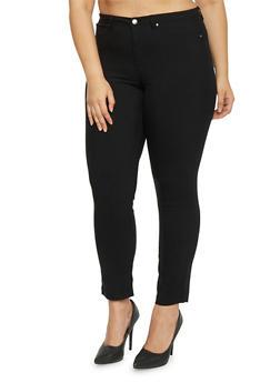 Plus Size Cuffed Stretch Knit Pants - 1870056570015