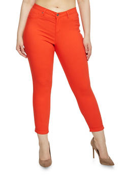 Plus Size Cuffed Stretch Knit Pants - 1870056570015