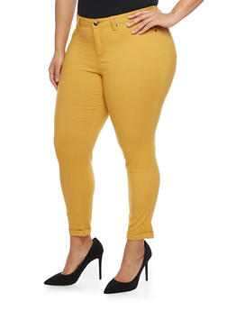 Plus Size Cuffed Stretch Knit Pants - MUSTARD - 1870056570015