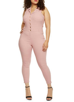 Plus Size Sleeveless Stretch Denim Jumpsuit - 1870056574016