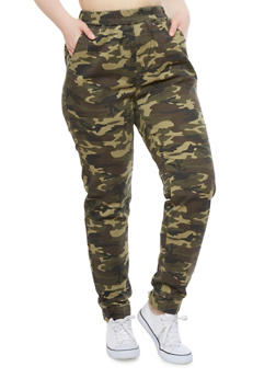 Plus Size Camouflage Print Joggers With Two Pockets,CAMOUFLAGE,medium