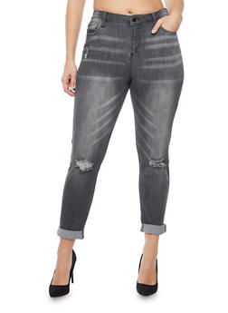 Plus Size Cello Jeans with Distressed Knees - 1870063150008