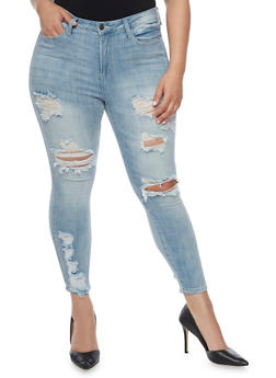Plus Size Cello Ripped Skinny Jeans - 1870063150272