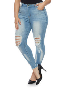 Plus Size Cello Distressed Skinny Jeans with Frayed Hem - 1870063150282