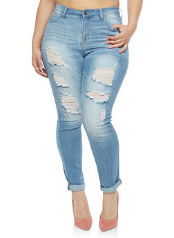 Plus Size Cello Distressed Skinny Jeans - 1870063150345