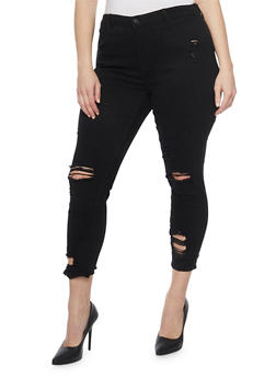 Black distressed skinny jeans plus size