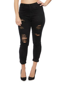 Plus Size Cello Jeans with Distressed Front - 1870063150455
