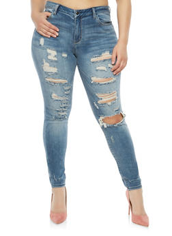 Plus Size Cello Destruction Skinny Jeans - 1870063150731