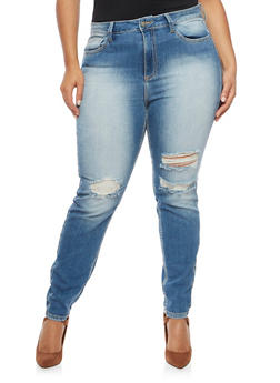 Plus Size Cello Jeans with Distressing - 1870063150868