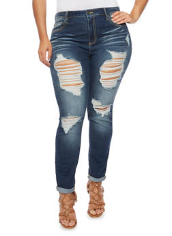 Plus Size Cello Distressed Skinny Jeans - 1870063151099