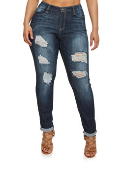 Plus Size Cello Distressed Cuffed Jeans - 1870063151403